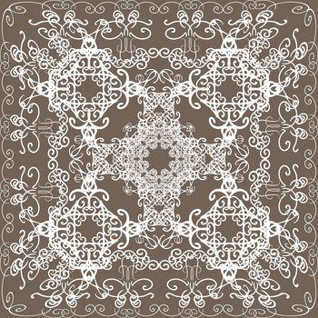 Elegant white lace pattern in oriental style on beige background