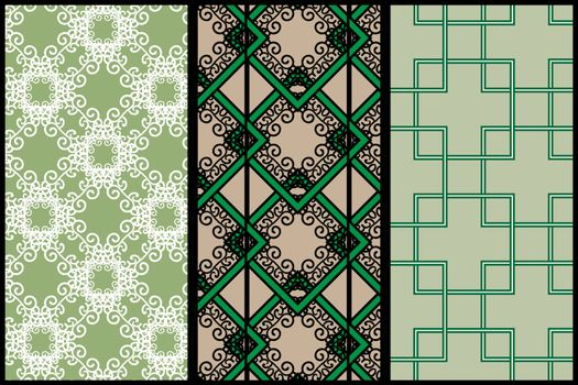 Three abstract green patterns: white lace, black and green ornate pattern and crossing linear squares