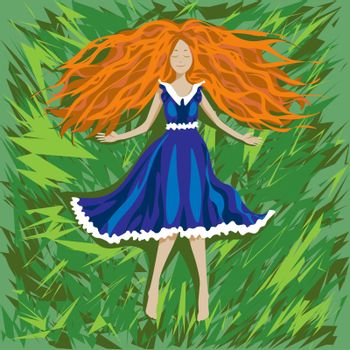 Cute cartoon freckles girl with long ginger hair in vintage dress lying on the grass and smiling