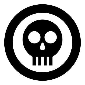 Human skull Cranium icon in circle round black color vector illustration flat style image