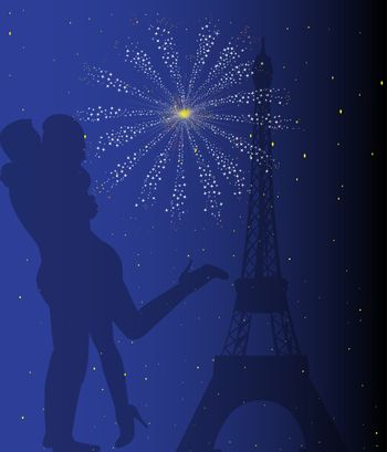 Paris at night with the Eiffel Tower and a couple kissing with firework explosion