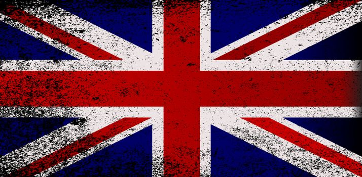 The flag of Great Britain with heavy grunge