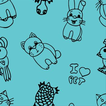The pets seamless pattern on color background.