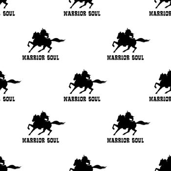 Perseverance or motivational concept warrior at horse graphic seamless pattern illustration in black and white colors