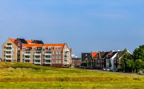 village landscape of sint Annaland, touristic town in zeeland, The Netherlands