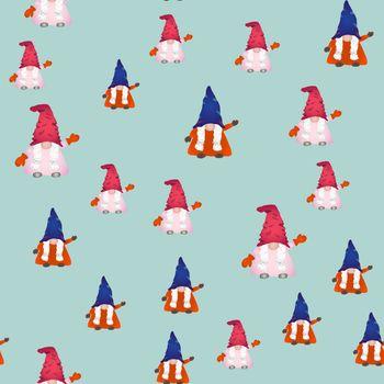 Scandinavian folklore christmas gnomes seamless pattern.