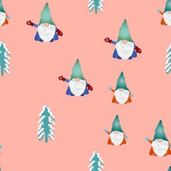 Scandinavian folklore christmas gnomes Nisse Tomte seamless pattern.