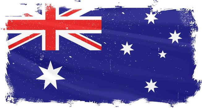 The flag of Australia with heavy grunge effect