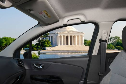 Looking through a car window with view of the Jefferson Memorial, Washington DC, USA