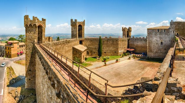 Interior of a medieval italian fortress, iconic landmark and one of the most visited sightseeing in Montalcino, Tuscany, Italy