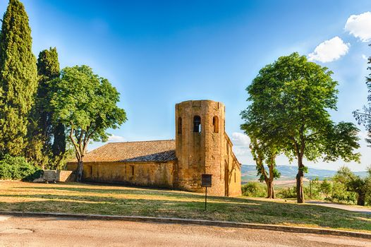 Old church in the countryside in Tuscany, Italy. Concept for life in the countryside and farmland