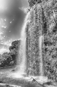 Waterfall in Park de la Colline du Chateau, major landmark in Nice, Cote d'Azur, France
