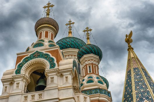 The iconic St Nicholas Orthodox Cathedral, one of the major landmark in Nice, Cote d'Azur, France