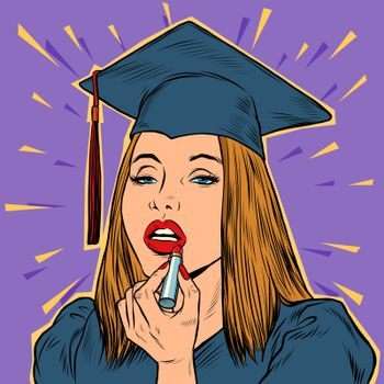 University graduate girl paints lips with lipstick. Pop art retro vector illustration 50s 60s style