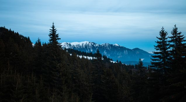 Panoramic view of Mount Ciucas on winter