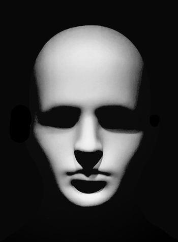 Minimal black style high constrat scary man head portrait artwork in black and white colors