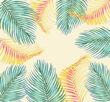 Frame of tropical palm leaves. Palm tree leaves background template. Tropical greeting card.