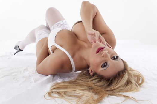 blonde woman in white underwear