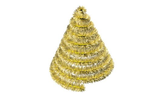 Christmas tree shape in tinsel