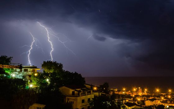 Lightning over the sea, night scene