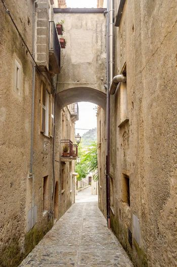Ancient street in old town of Fiumefreddo Bruzio, a southern Italy village