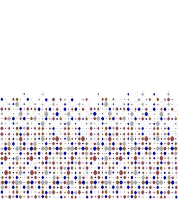 Lines and dots motif matrix patterned design in mixed colors over white background