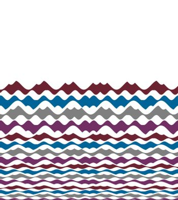 Wavy lines patterned design in mixed colors over white background