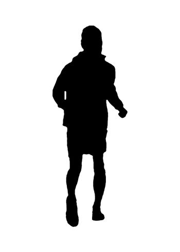 Graphic silhouette adult man running against white background