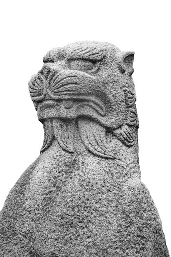 Japanese mythological feline stone sculpture isolated on white background