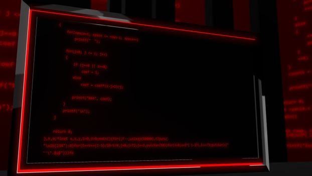 Red programming code on a screen put aslant