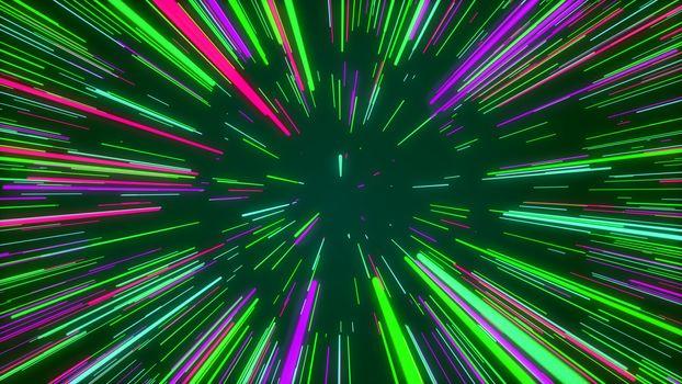 Abstract imaginative rainbow cyberspace journey