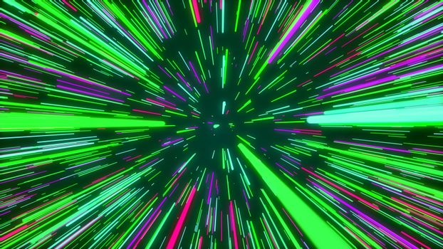 Abstract inventive rainbow cyberspace trip