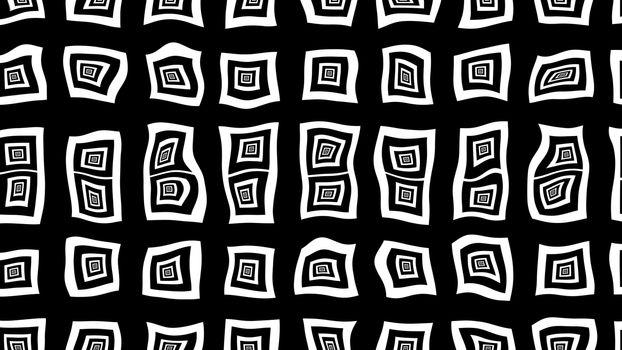 Black and white opt art square illusion