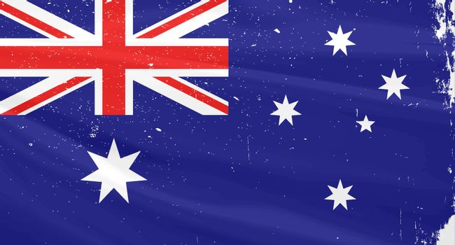 The flag of Australia with slight grunge effect