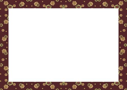 White frame background with decorated design borders.