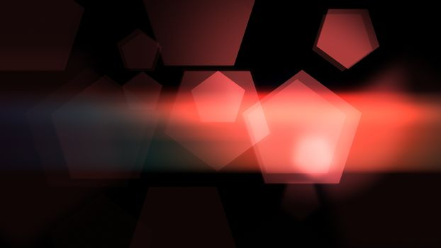 Red abstract pentagons background on the dark.
