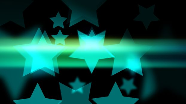 Star-shaped bokeh with glow and glitter