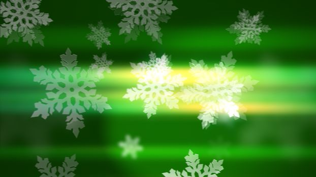 Snowflakes on the green background.