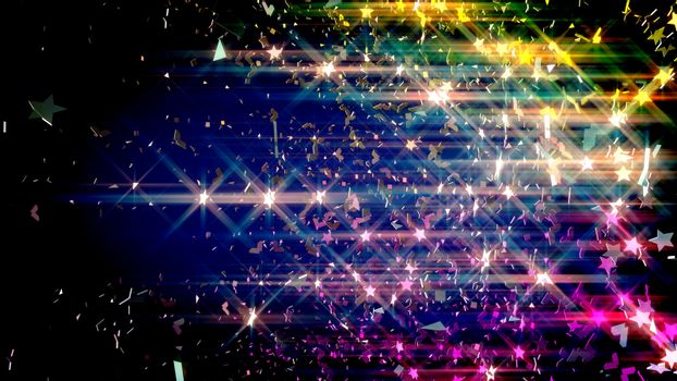 Colorful stars and small pieces of shatters throughout in the air.