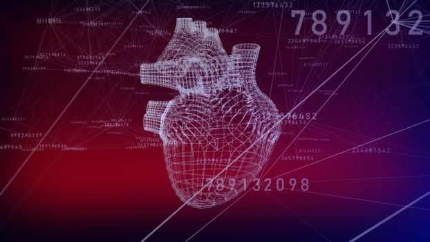 A human hearts in low-poly concept