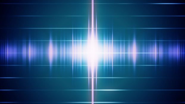 Abstract digital sound wave on the striped background with light signals.