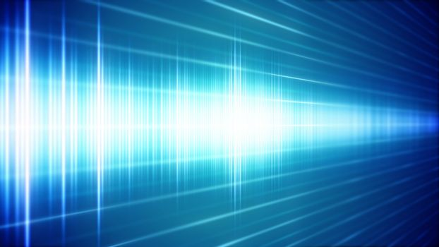Blue Digital sound wave in perspective view.