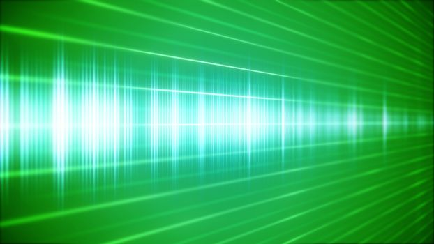 Green Digital sound wave in perspective view.
