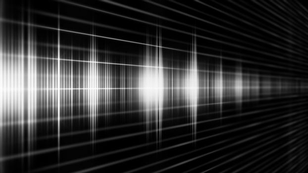 An Abstract White sound form on the black background.