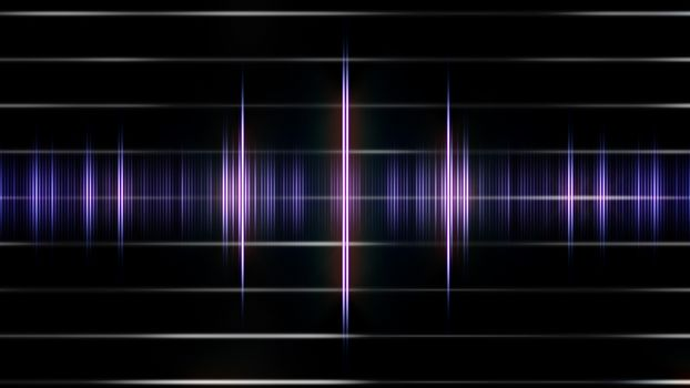 An Abstract Violet sound form on the black background.