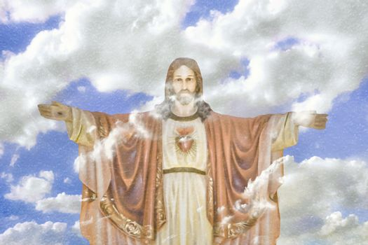 Chrisitanity religious concept artwork depicting jesus with arms open posture over cloudy sky background