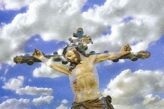 Chrisitanity religious concept artwork depicting jesus on the cross over cloudy sky background