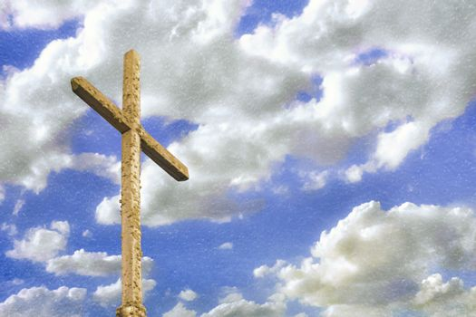 Religion concept design depicting old wooden damaged cross over cloudy sky background