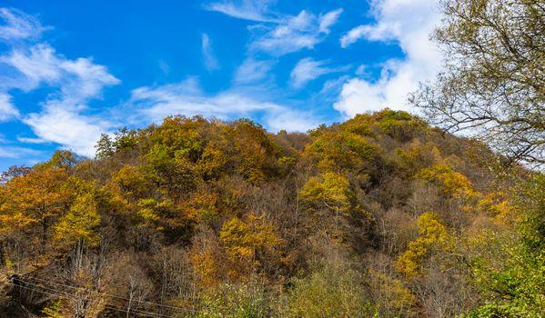 Caucasus mountain landscape in fall time in Georgia