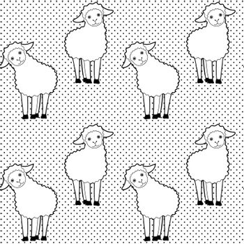 Seamless pattern with cute cartoon sheep on black and white dotted background
